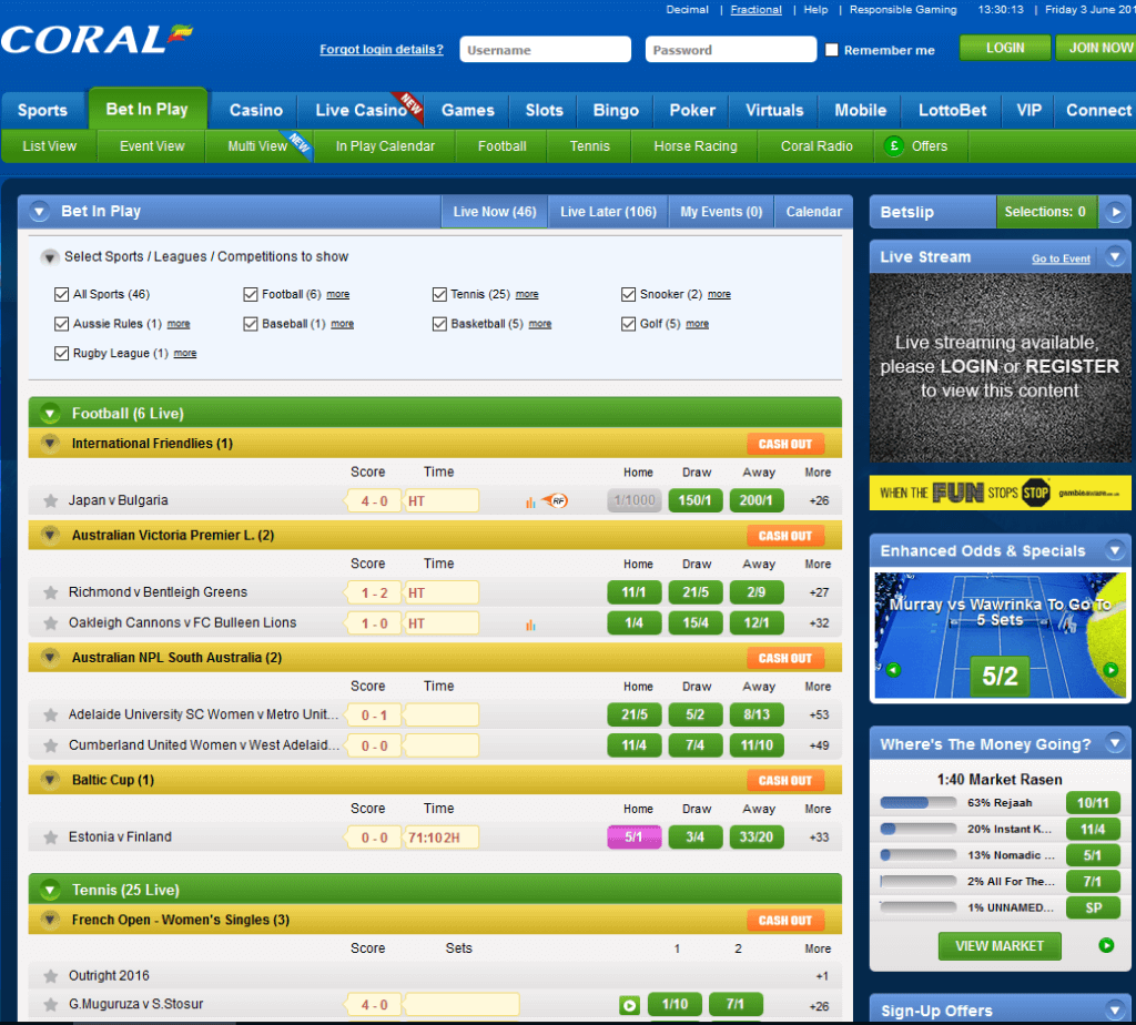 Online betting and gaming